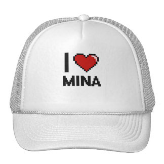 I Love Mina Digital Retro Design Cap