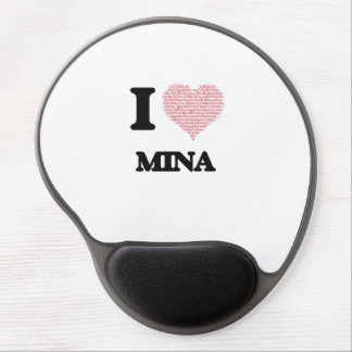 I love Mina (heart made from words) design Gel Mouse Pad