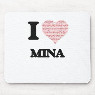 I love Mina (heart made from words) design Mouse Pad