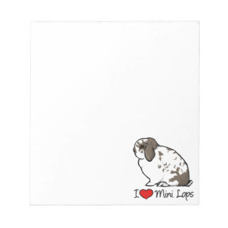 I Love Mini Lop Rabbits Notepad