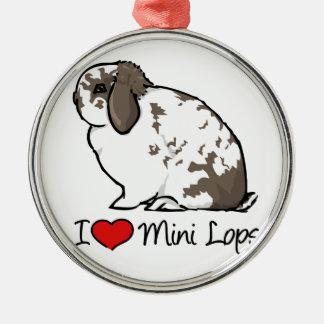 I Love Mini Lop Rabbits Silver-Colored Round Decoration