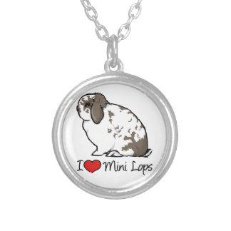 I Love Mini Lop Rabbits Silver Plated Necklace