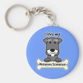 I Love Miniature Schnauzers Key Ring