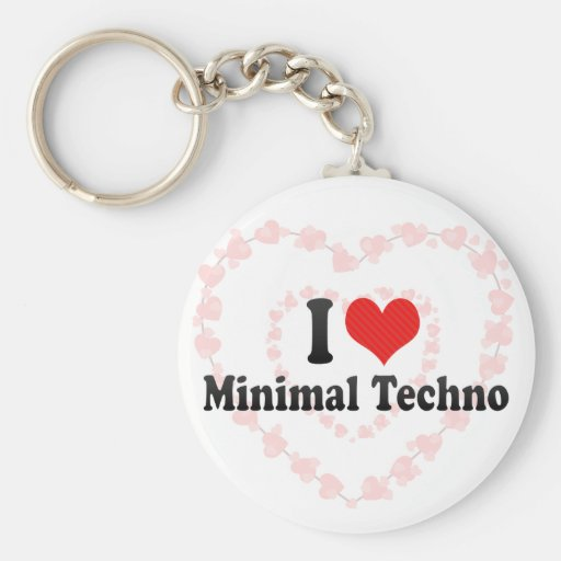I Love Minimal Techno Basic Round Button Key Ring