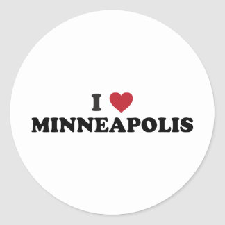 I Love Minneapolis Minnesota Classic Round Sticker