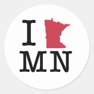 I Love Minnesota Classic Round Sticker