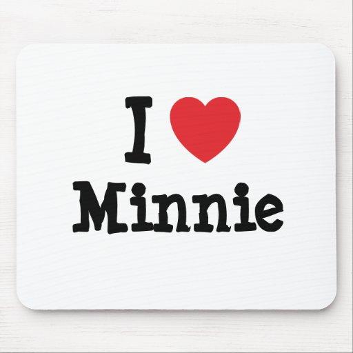 I love Minnie heart T-Shirt Mouse Pads