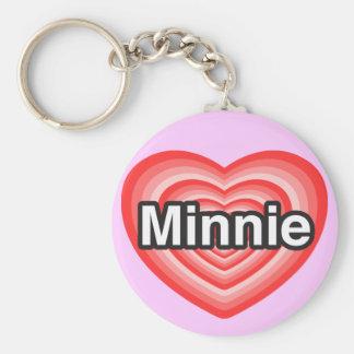 I love Minnie. I love you Minnie. Heart Keychains