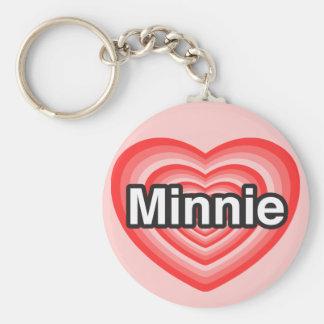 I love Minnie. I love you Minnie. Heart Key Chains