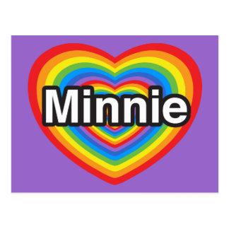 I love Minnie. I love you Minnie. Heart Postcard