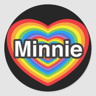 I love Minnie. I love you Minnie. Heart Sticker