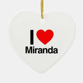 i love miranda Double-Sided heart ceramic christmas ornament