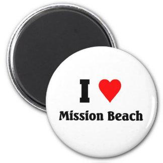 I love Mission Beach 6 Cm Round Magnet