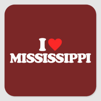 I LOVE MISSISSIPPI SQUARE STICKER