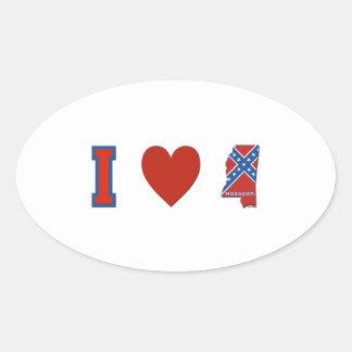 I Love Mississippi Oval Sticker