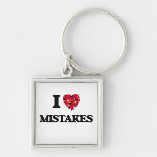 I Love Mistakes Silver-Colored Square Key Ring