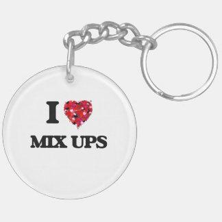 I Love Mix Ups Double-Sided Round Acrylic Key Ring