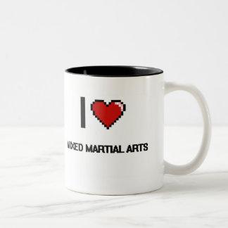 I Love Mixed Martial Arts Digital Retro Design Two-Tone Mug