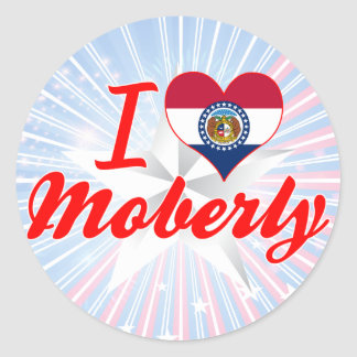 I Love Moberly Missouri Round Stickers
