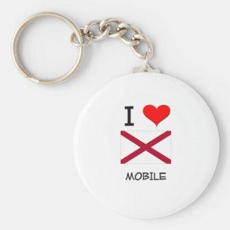 I Love MOBILE Alabama Basic Round Button Key Ring