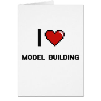 I Love Model  Building Digital Retro Design Greeting Card