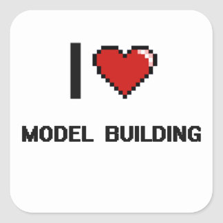 I Love Model  Building Digital Retro Design Square Sticker