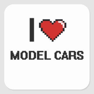 I Love Model Cars Digital Retro Design Square Sticker