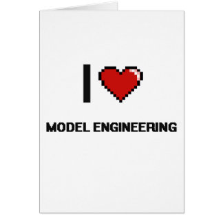 I Love Model Engineering Digital Retro Design Greeting Card