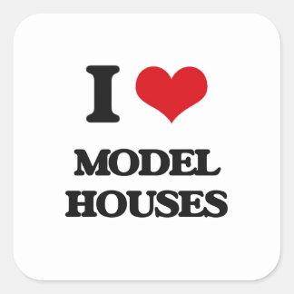 I Love Model Houses Square Sticker