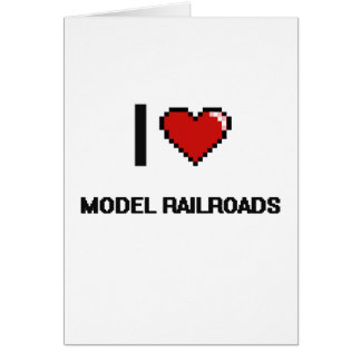 I Love Model Railroads Digital Retro Design Greeting Card