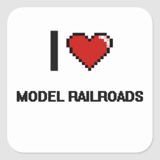 I Love Model Railroads Digital Retro Design Square Sticker