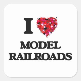 I Love Model Railroads Square Sticker