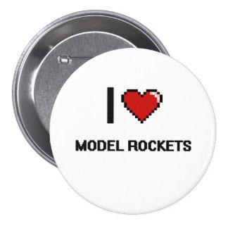 I Love Model Rockets Digital Retro Design 3 Inch Round Button
