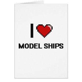 I Love Model Ships Digital Retro Design Greeting Card
