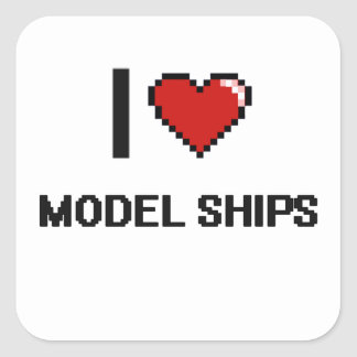 I Love Model Ships Digital Retro Design Square Sticker
