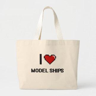 I Love Model Ships Digital Retro Design Jumbo Tote Bag