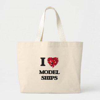 I Love Model Ships Jumbo Tote Bag