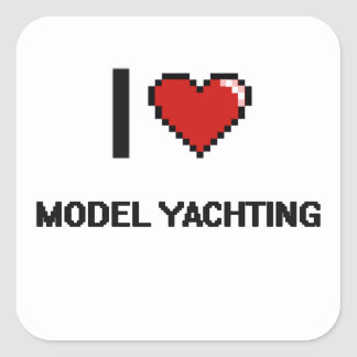 I Love Model Yachting Digital Retro Design Square Sticker
