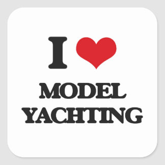 I Love Model Yachting Square Sticker