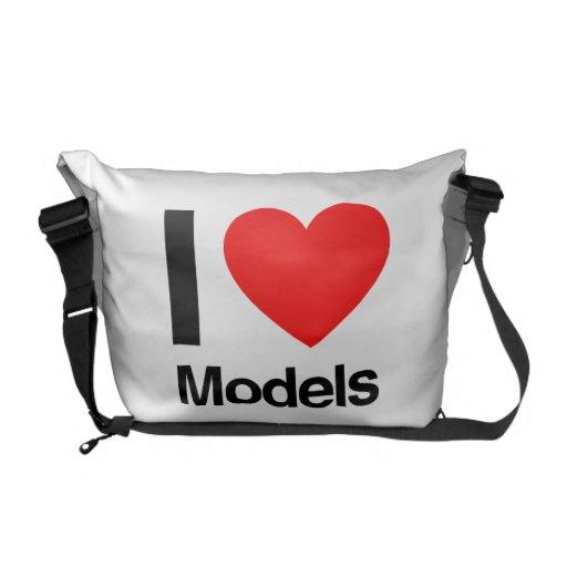 i love models messenger bag