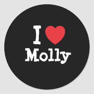 I love Molly heart T-Shirt Classic Round Sticker