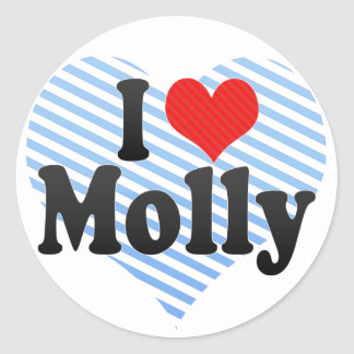 I Love Molly Round Sticker