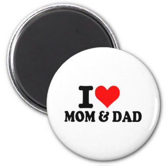 I love mom and dad 6 cm round magnet