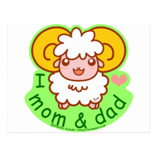 I Love Mom and Dad Postcard