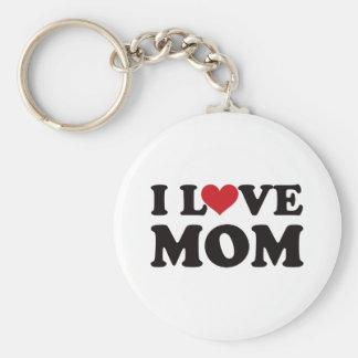 I Love Mom Basic Round Button Key Ring