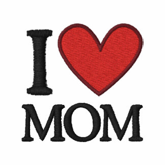 I Love Mom Embroidered Embroidered Polo Shirt
