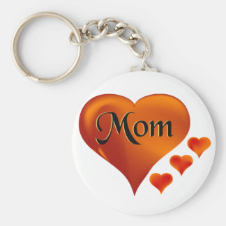 "I love Mom Hearts with word ""Mom"" Basic Round Button Key Ring"