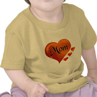 "I love Mom Hearts with word ""Mom"" T-shirts"