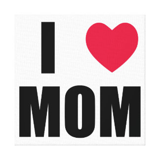 I Love Mom - Red Heart - Black Text Canvas Prints