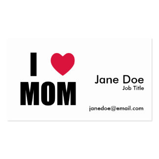 I Love Mom - Red Heart - Black Text Pack Of Standard Business Cards